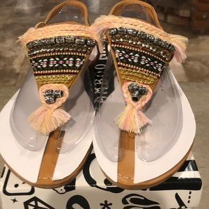 NWT Beaded Sandals Aztec Design Flats